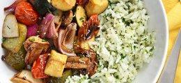 Arroz con verduras asadas